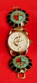 Ladies Sunface Watch Tips, Turquoise and Penn Shell