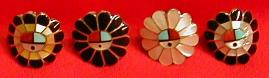 Mosaic Inlay Ladies Rings, Sunface with Shell Feathers