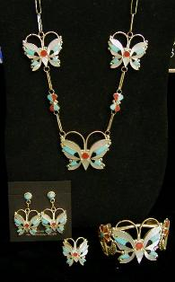 Mosaic Inlay Butterfly Necklace Set